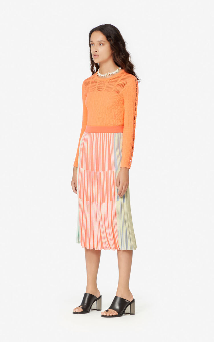 MULTICOLOR Colour-block midi skirt for women KENZO