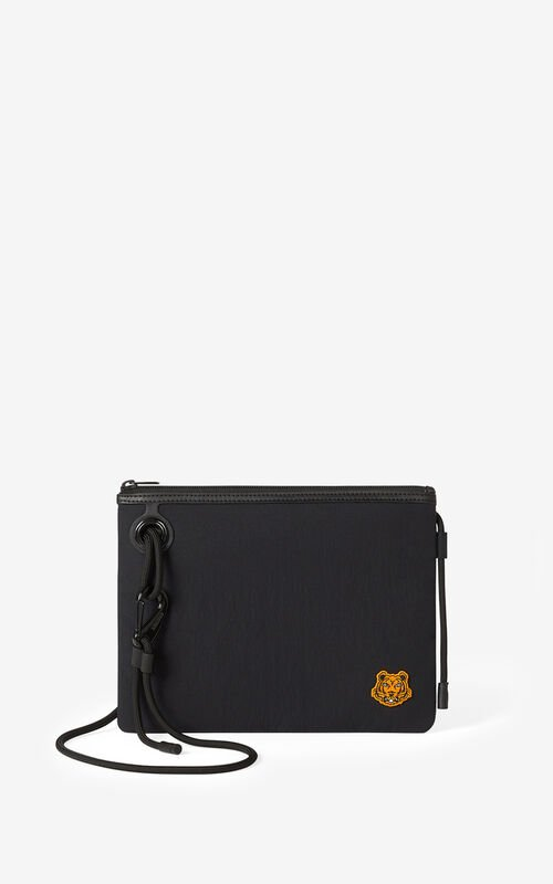 BLACK Tiger Crest bag with strap for unisex KENZO