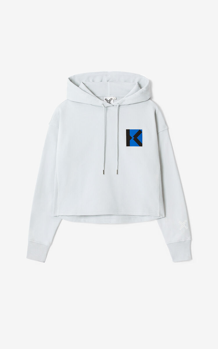 PALE GREY KENZO Sport 'Blocked K' hooded sweatshirt for women