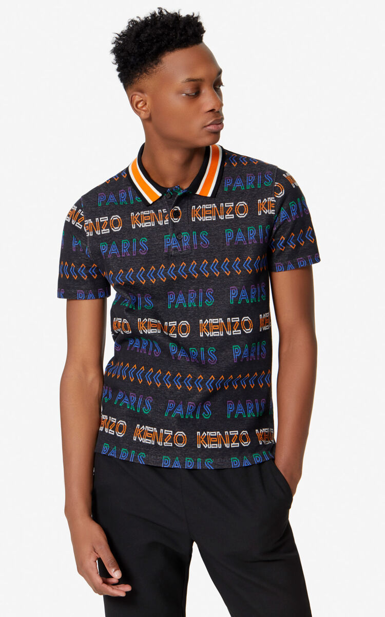 BLACK KENZO Paris regular polo shirt  for men