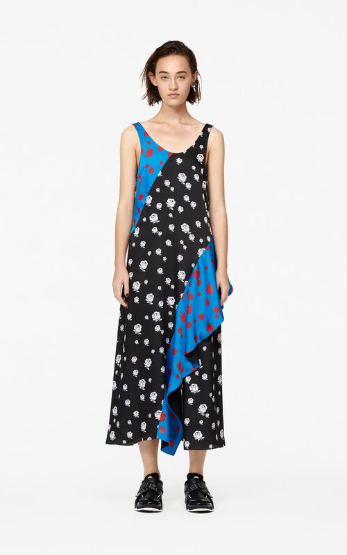 BLACK 'Roses' ruffled dress for women KENZO