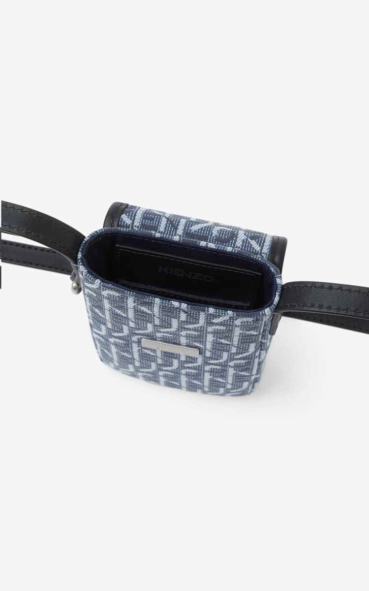 NAVY BLUE Courier jacquard phone pouch with strap for men KENZO
