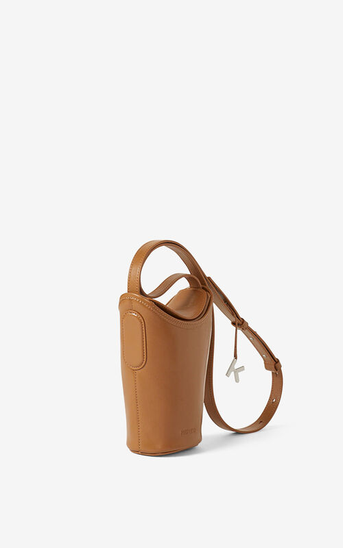 DARK CAMEL Small KENZO Onda leather bucket bag for unisex
