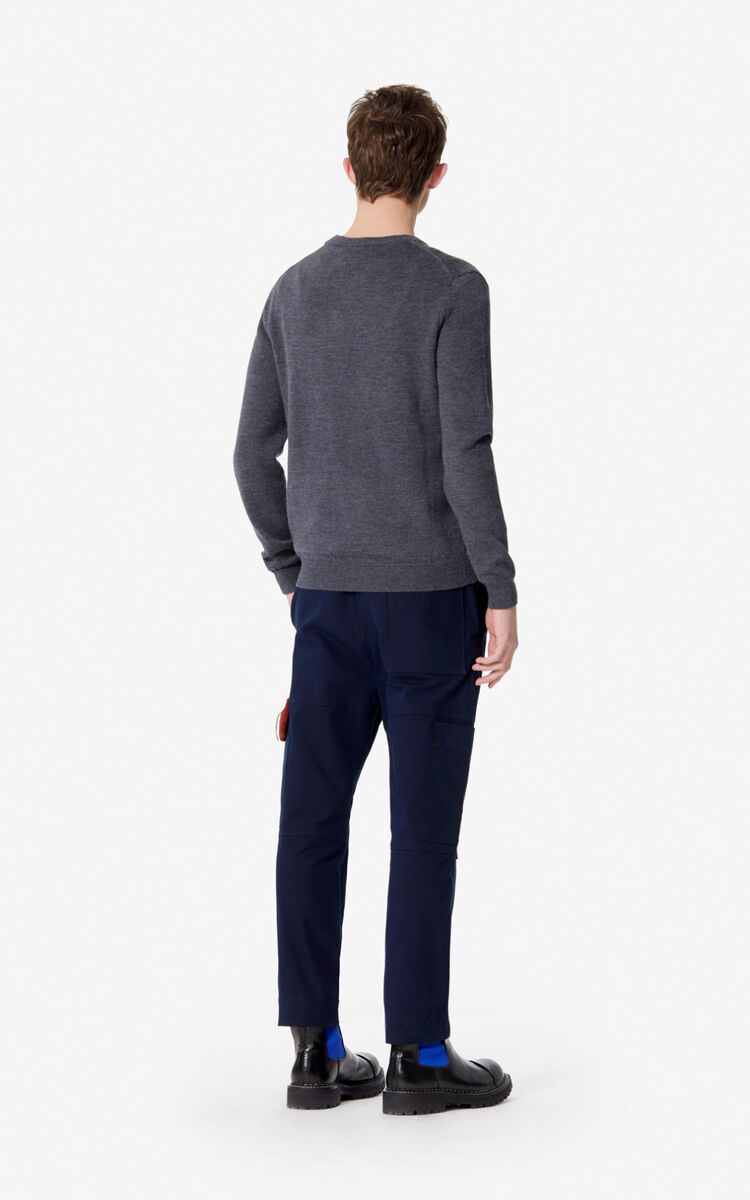 ANTHRACITE Woollen KENZO Paris jumper for men