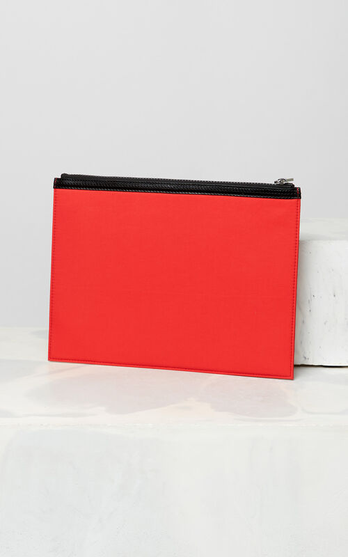 MEDIUM RED A4 KENZO Logo clutch for unisex