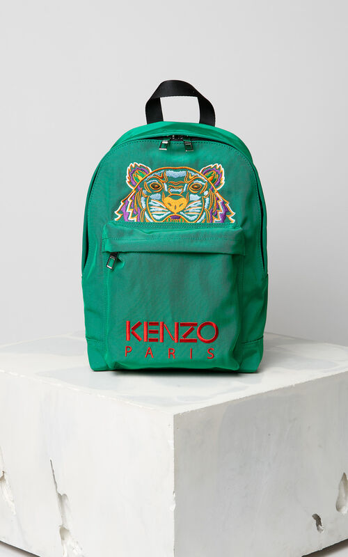 GRASS GREEN Medium Tiger Canvas backpack for women KENZO
