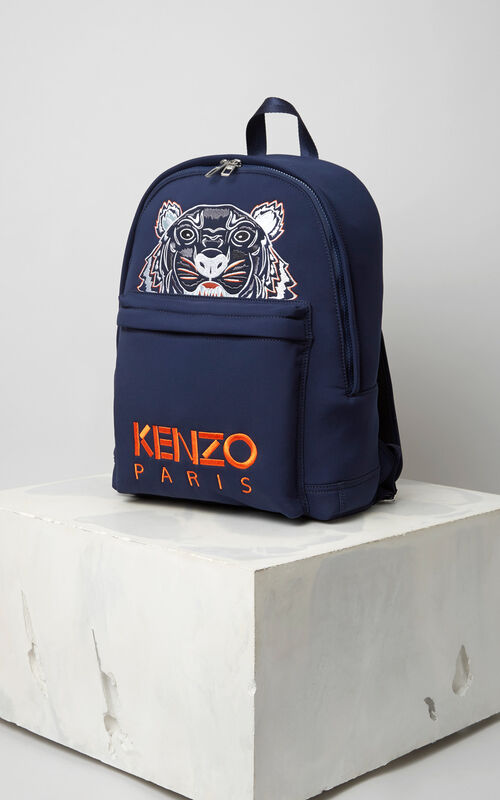 9fe50817 NAVY BLUE Large Neoprene Tiger backpack for unisex KENZO ...