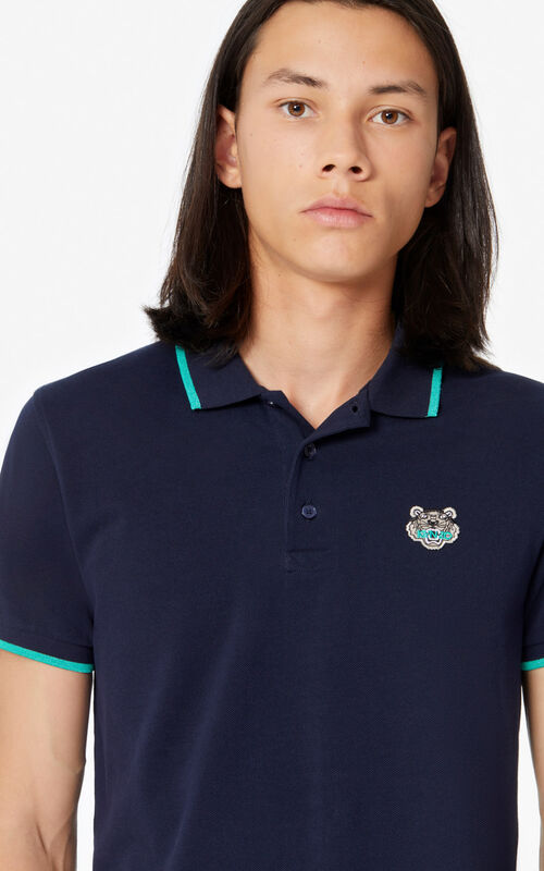 MIDNIGHT BLUE Fitted Tiger polo shirt for men KENZO