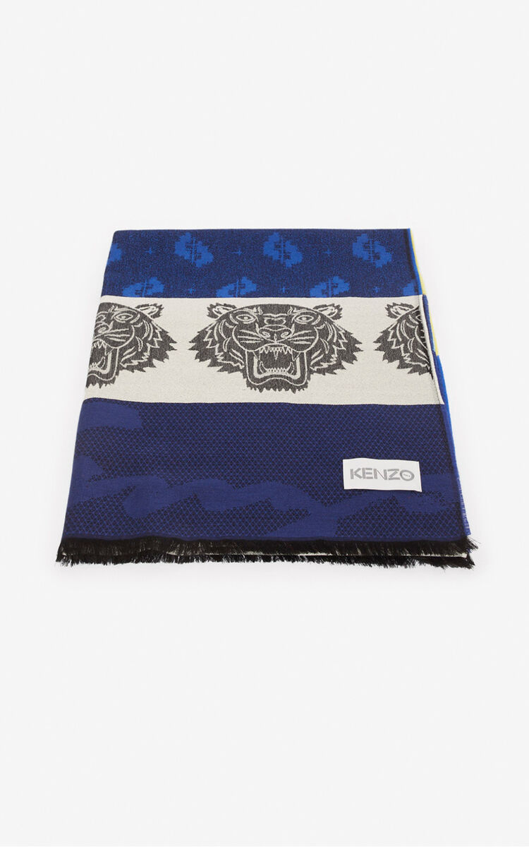 NAVY BLUE Multi Icons scarf for unisex KENZO