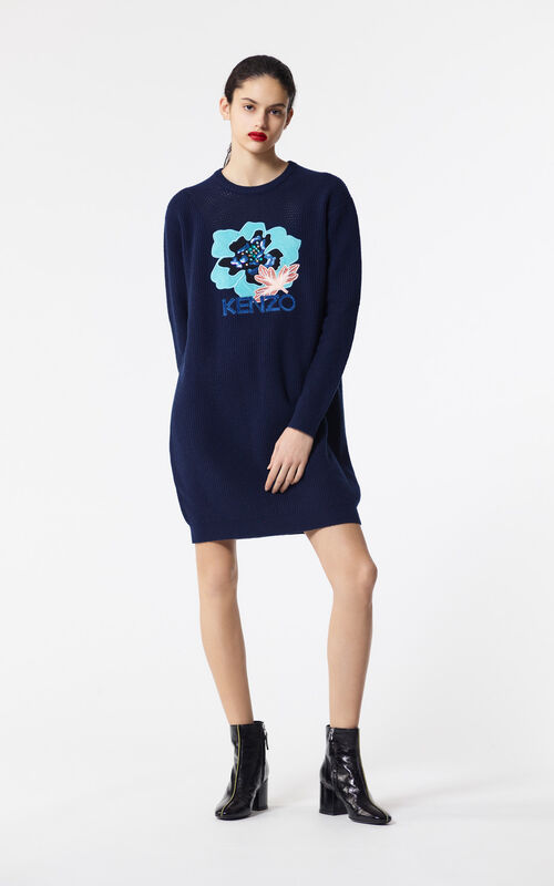 NAVY BLUE 'Indonesian Flower' jumper dress for women KENZO