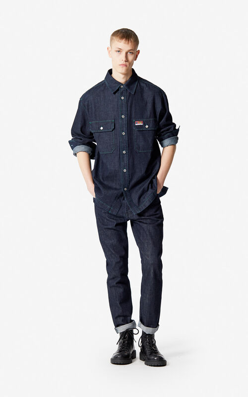 NAVY BLUE Denim shirt for men KENZO