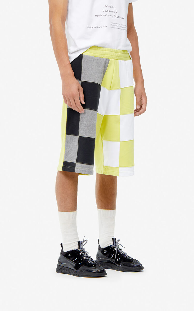 GOLDEN YELLOW Checked shorts for men KENZO