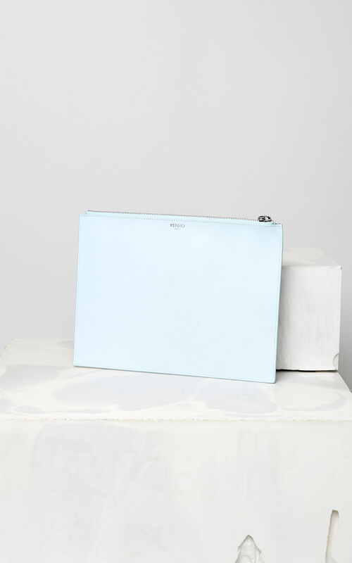 SKY BLUE A4 Eye clutch in leather for unisex KENZO