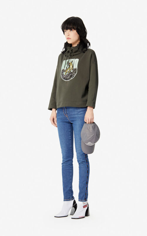 DARK KHAKI 'Tiger Mountain' 'Capsule Expedition' sweatshirt for women KENZO
