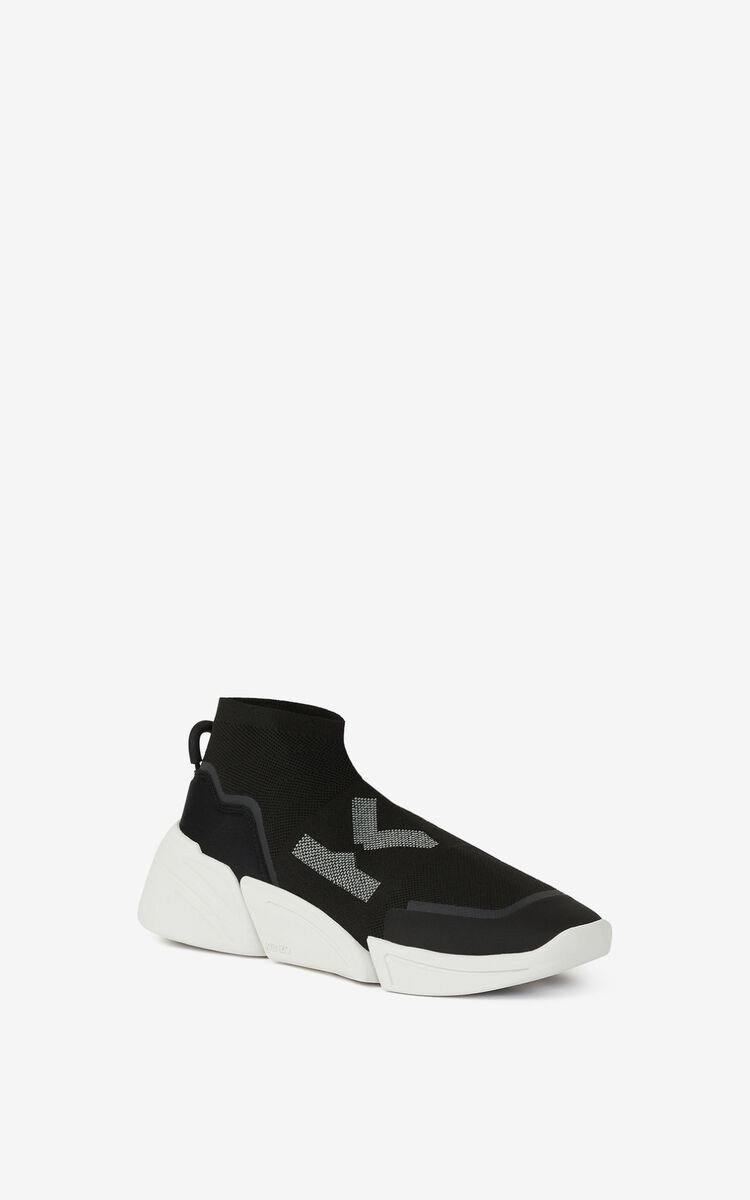 BLACK K-SOCK 'K Logo' lace-free sneakers for men KENZO