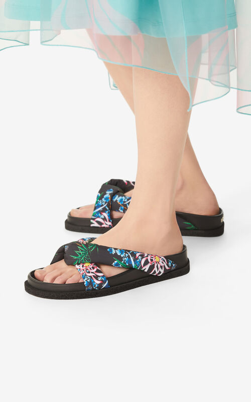BLACK 'Sea Lily' Komfy mules for women KENZO