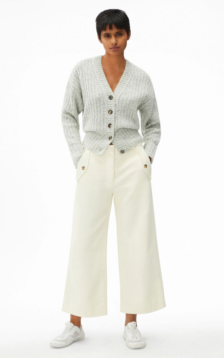 OFF WHITE Ribbed cardigan in recycled cashmere for women KENZO
