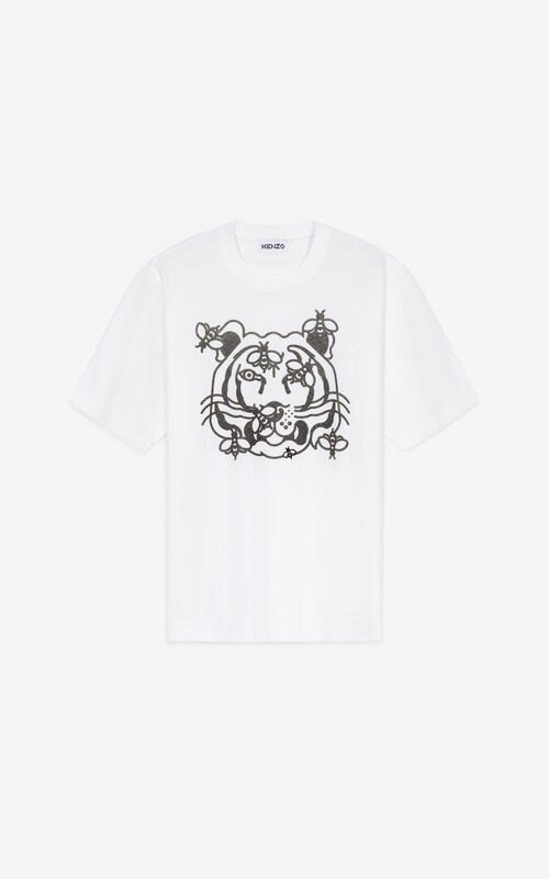 WHITE Bee a Tiger' T-shirt for unisex KENZO