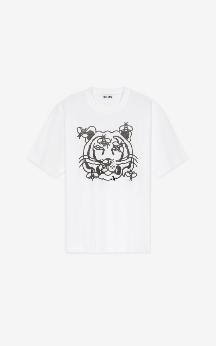WHITE Bee a Tiger' T-shirt for men KENZO