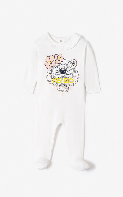 WHITE 'Hawai' Tiger sleepsuit for women KENZO