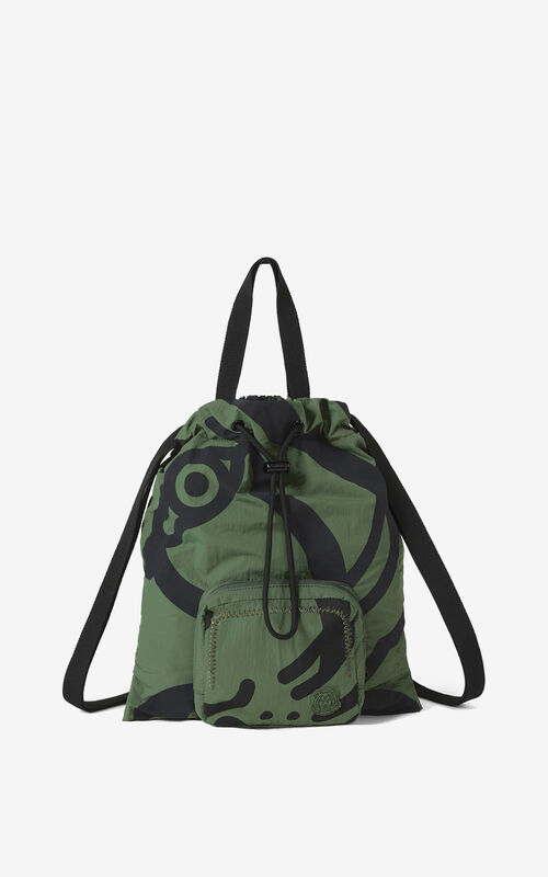 DARK KHAKI K-Tiger foldable backpack for unisex KENZO