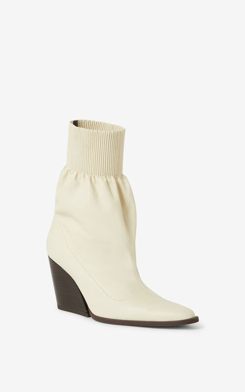 ECRU Billow leather ankle boots for men KENZO