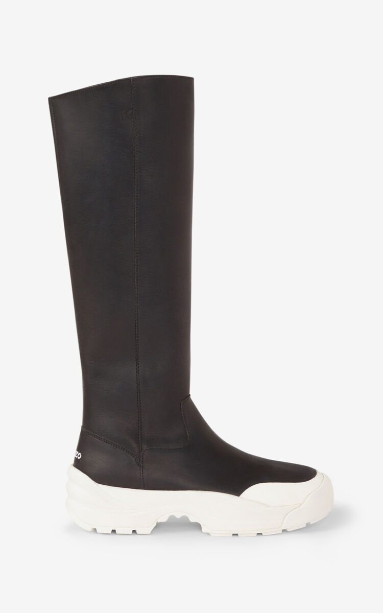 BLACK KENZO Work high boots for unisex