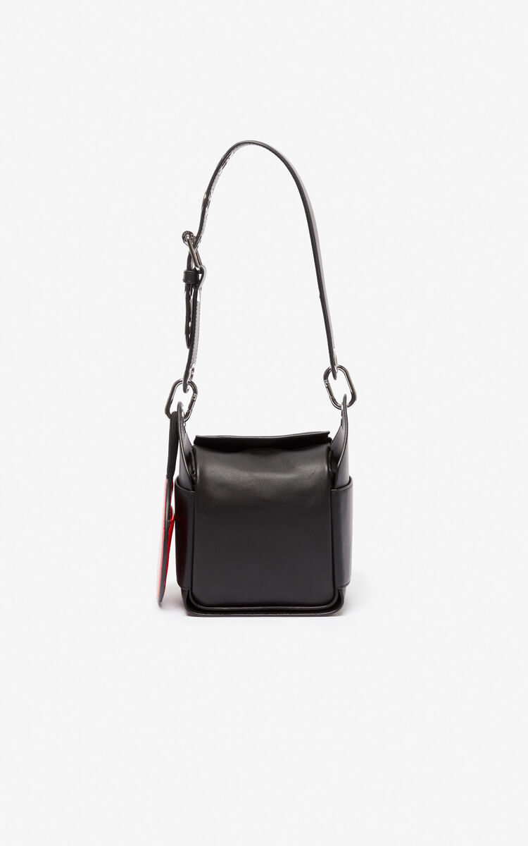 BLACK Mini Hobo Leather Bag for women KENZO