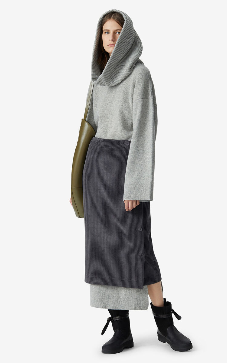 STONE GREY Corduroy wrap skirt for women KENZO