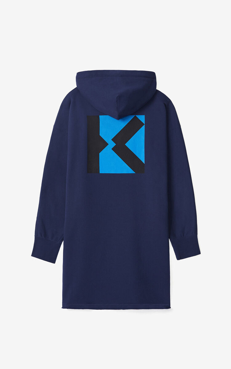 MIDNIGHT BLUE KENZO Sport 'Little X' long hooded sweatshirt for women