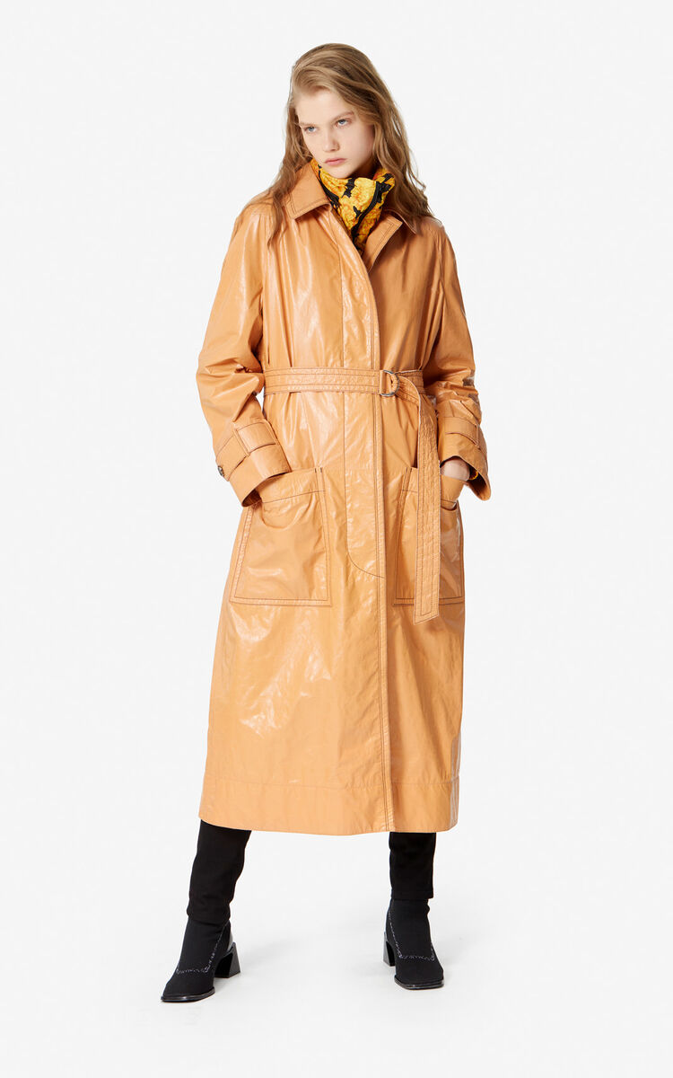 APRICOT Leather trench coat for women KENZO