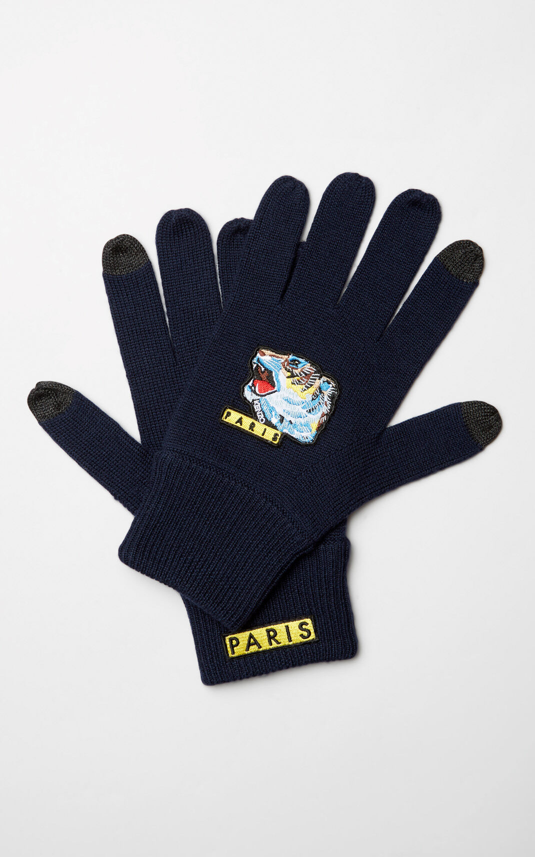 NAVY BLUE 'Tiger Face' gloves for unisex KENZO