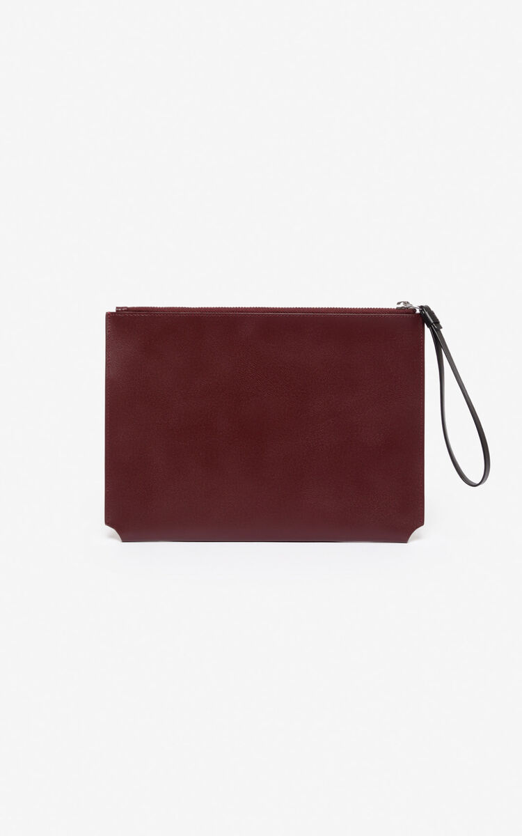 BORDEAUX A4 'Jumping Tiger' leather clutch  for unisex KENZO