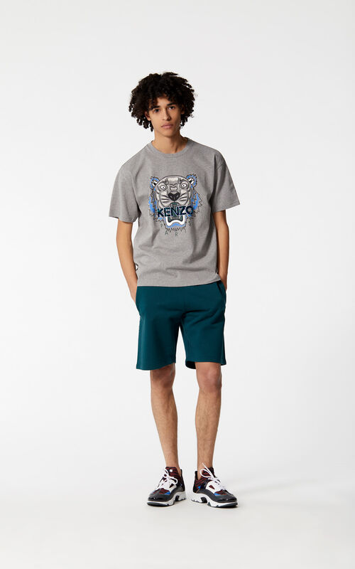 DOVE GREY 'Leopard' Tiger t-shirt for men KENZO