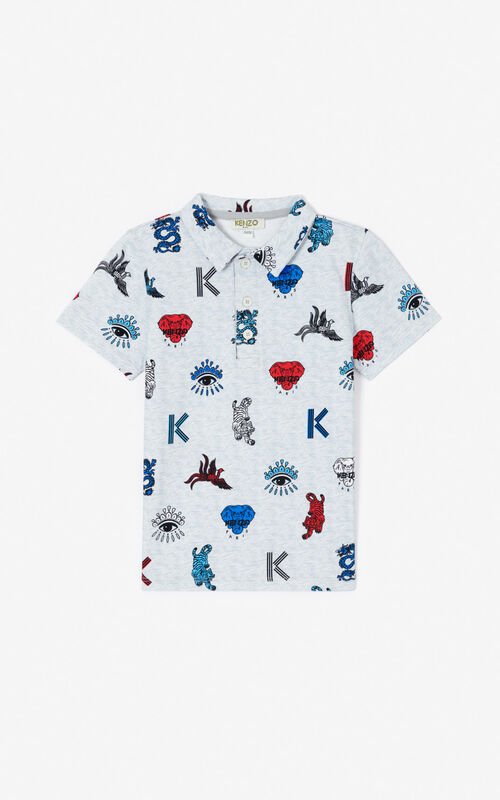PALE GREY Multi-icon polo shirt  for men KENZO
