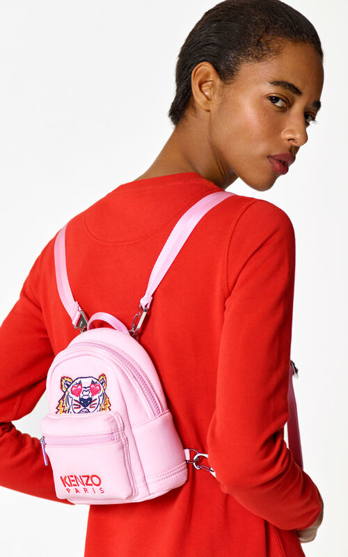 FLAMINGO PINK Mini neoprene Tiger backpack for women KENZO
