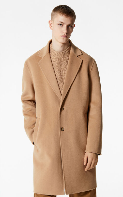 DARK BEIGE Straight-cut wool and cashmere coat for men KENZO