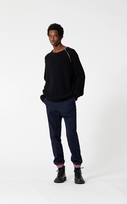 NAVY BLUE Jog pant with rib for men KENZO