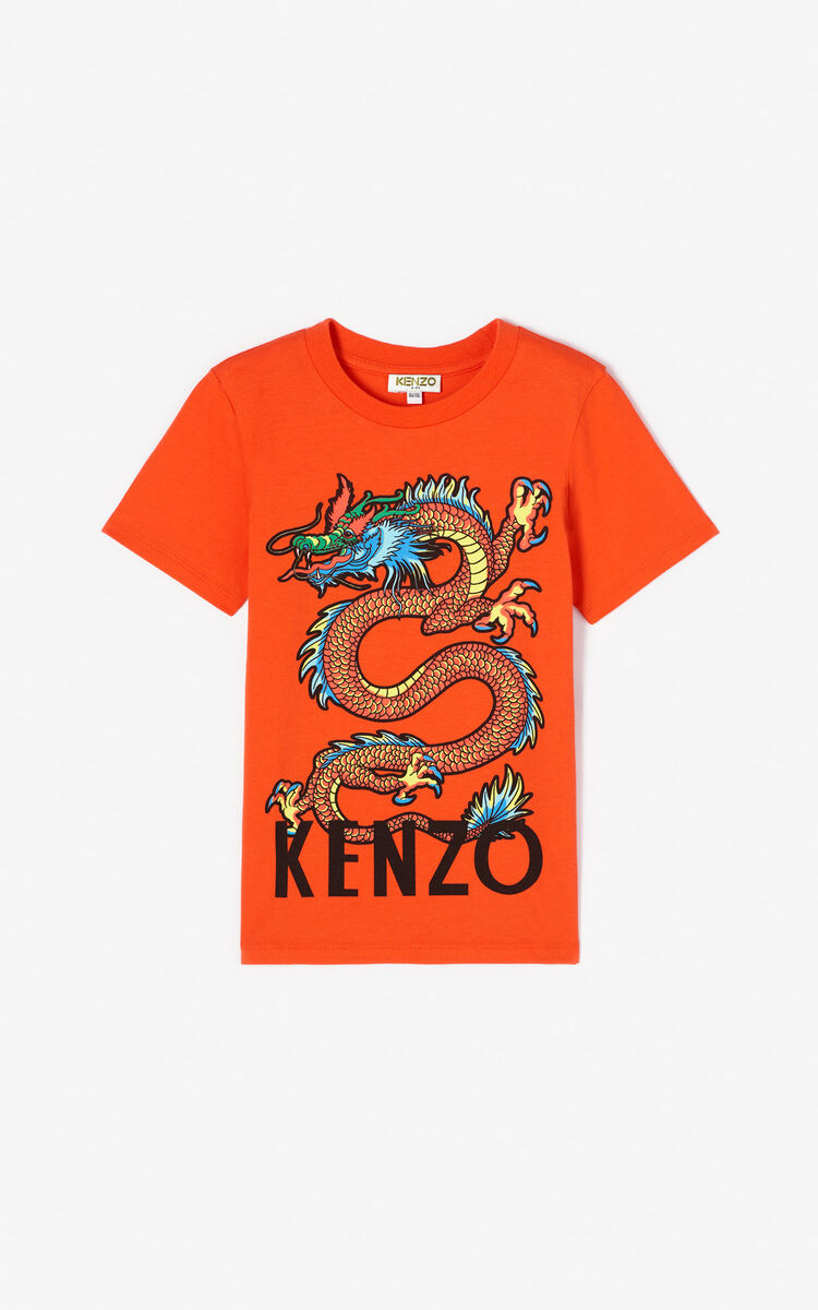 MEDIUM ORANGE 'Japanese Dragon' T-shirt for men KENZO