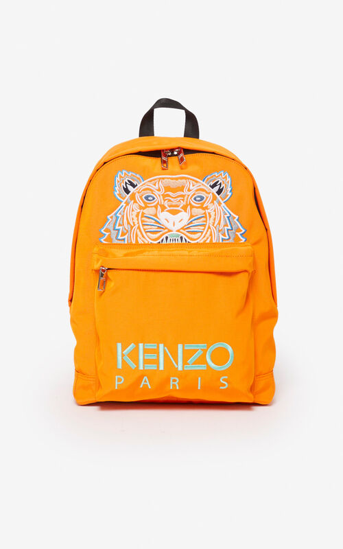 MEDIUM ORANGE Large Tiger Canvas backpack for unisex KENZO