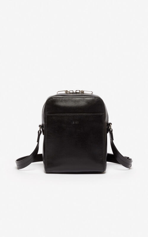 BLACK KENZO Logo crossbody bag for unisex
