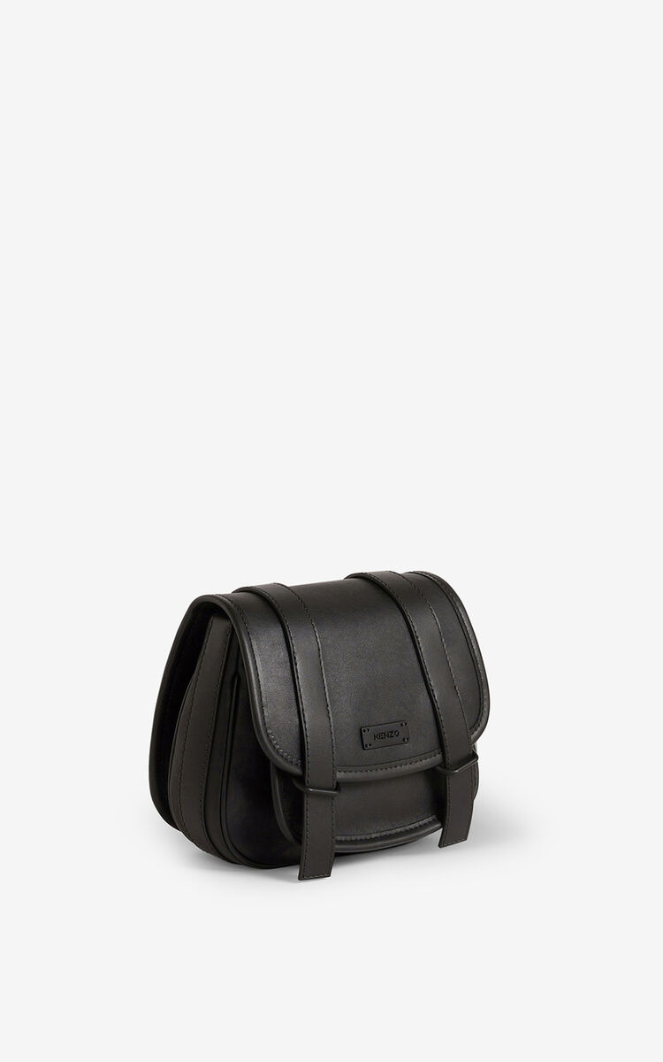 BLACK Courier small leather messenger bag for unisex KENZO