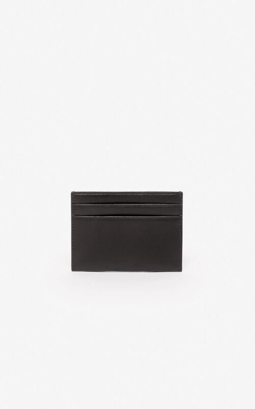 BLACK 'Valentine's Day Capsule' 'Lucky Tiger' leather cardholder for women KENZO