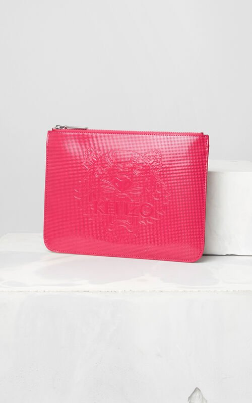 DEEP FUSCHIA A4 Tiger Clutch for women KENZO