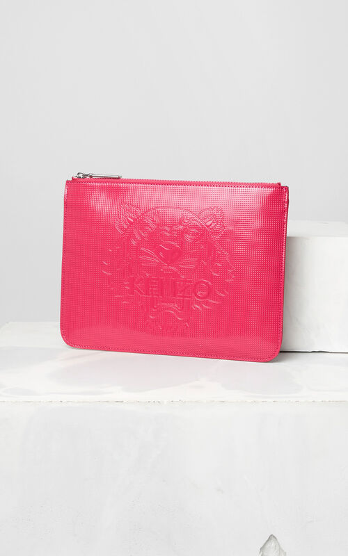 DEEP FUSCHIA A4 Tiger Clutch for unisex KENZO