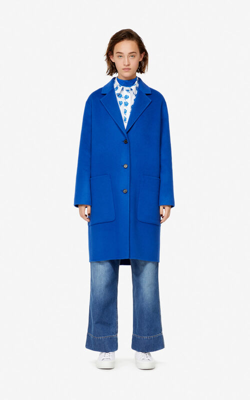 SLATE BLUE Wool and cashmere coat for women KENZO
