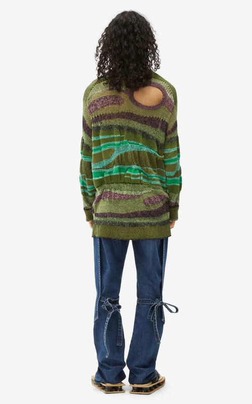 GREEN Striped patchwork jumper for men KENZO