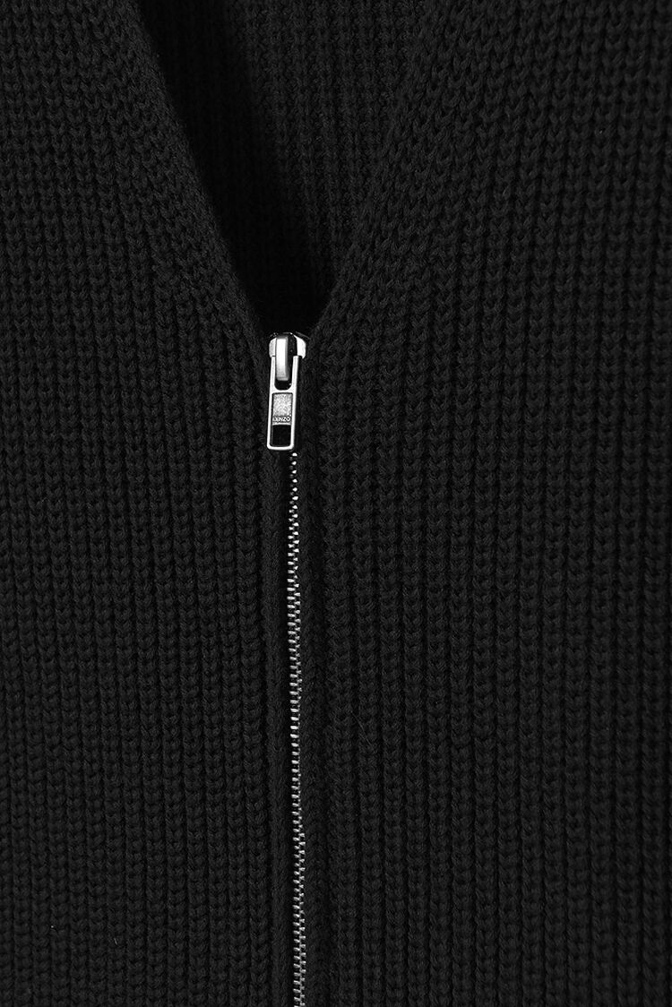 BLACK KENZO Ribbed-Knit Cardigan for women