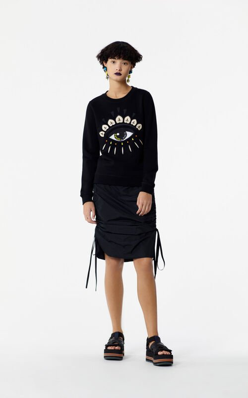 BLACK Embroidered Eye sweater for women KENZO