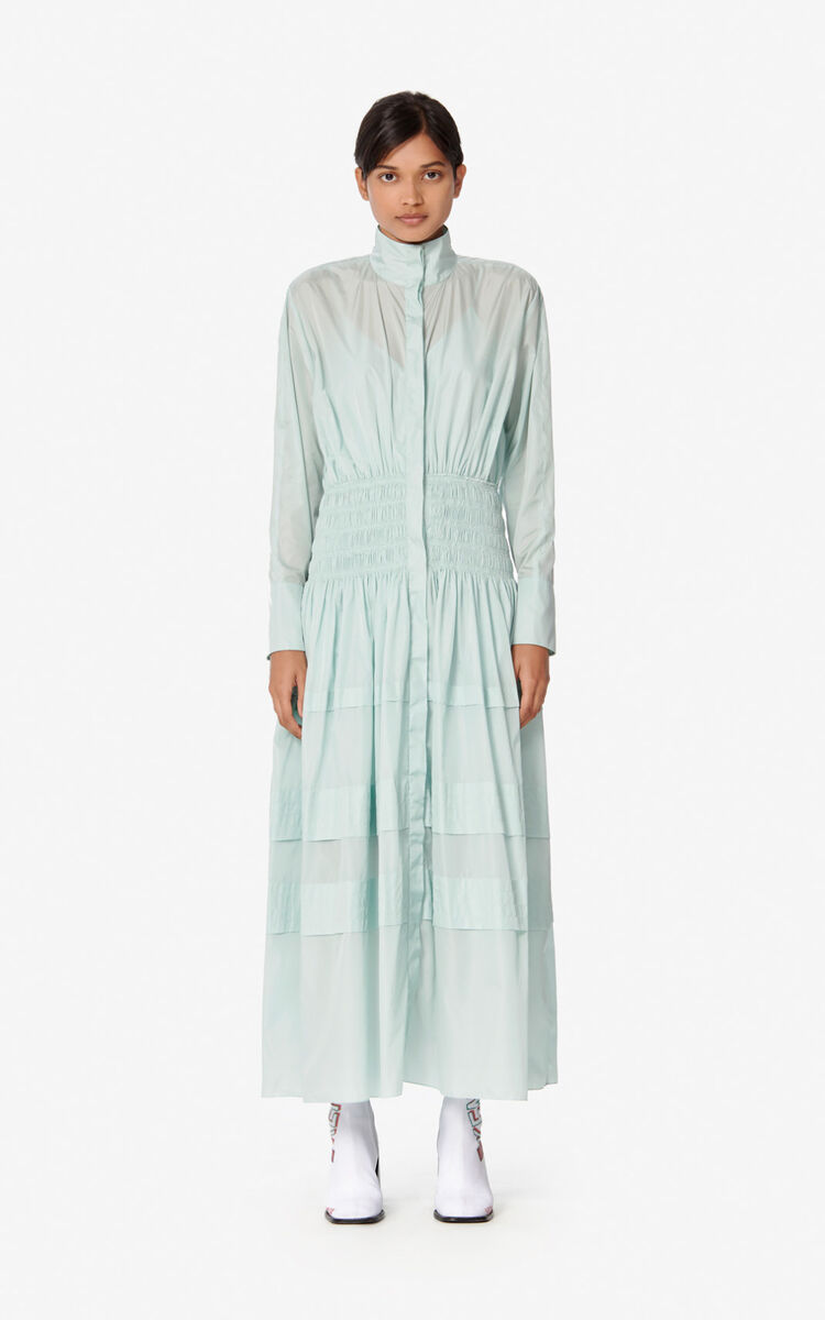 TEA GREEN Long gathered dress for women KENZO